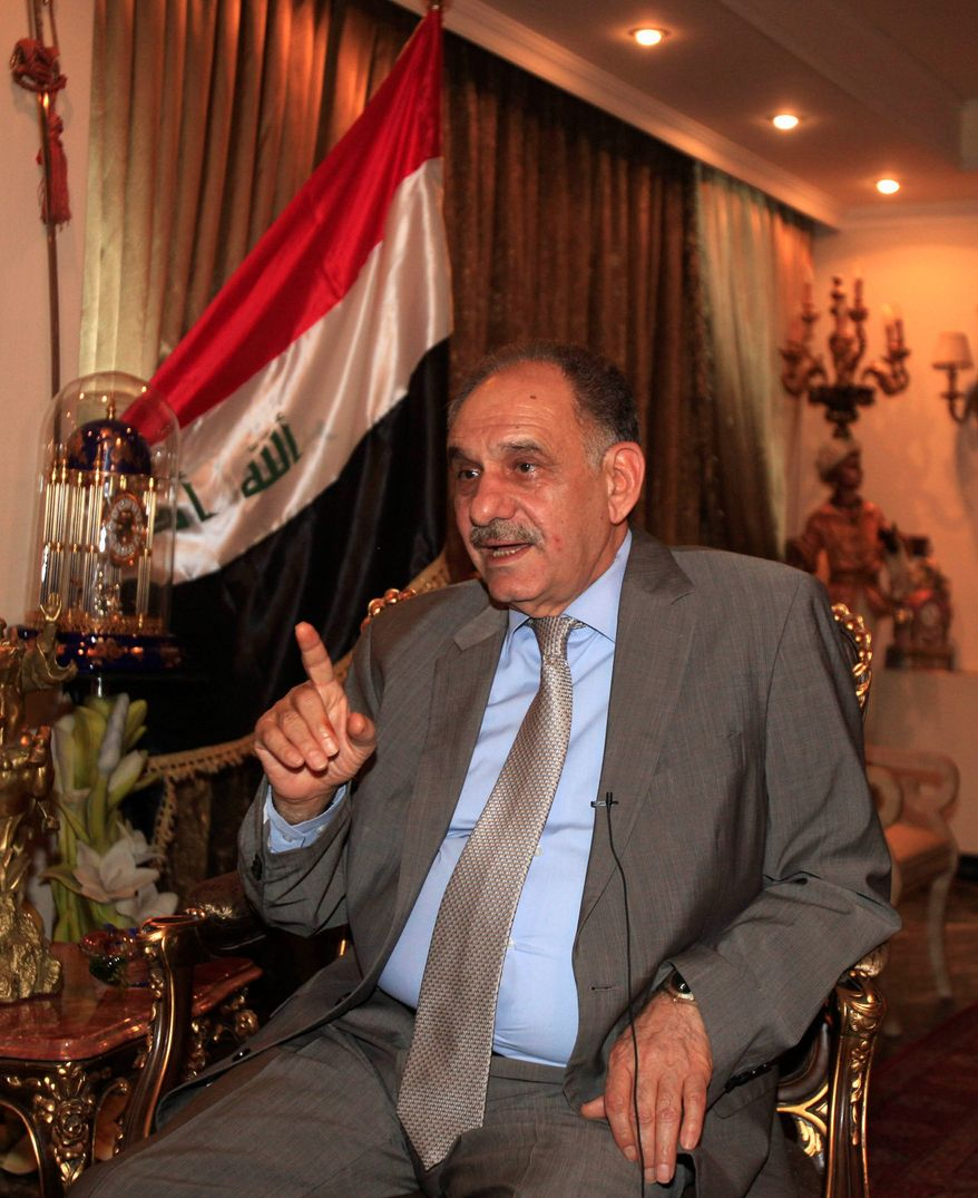 """Call for help: Iraqi Deputy Prime Minister Saleh Mutlaq said """"the U.S. did not act in a strong way"""" during and after 2010 parliamentary elections. (Associated Press)"""