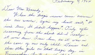 This image released Tuesday, Jan. 14, 2014, by the John F. Kennedy Presidential Library and Museum in Boston shows a portion of a condolence letter by Maxine McNair sent to President Kennedy's widow, Jacqueline, after he was assassinated on Nov. 22, 1963. McNair was the mother of Denise McNair, 11, who was killed in the September 1963 bombing of the 16th Baptist Church in Birmingham, Ala. The condolence messages are from the personal papers of Jacqueline Kennedy Onassis and contains approximately 22,000 letters, telegrams and cards from people around the world.  (AP Photo/John F. Kennedy Presidential Library and Museum)