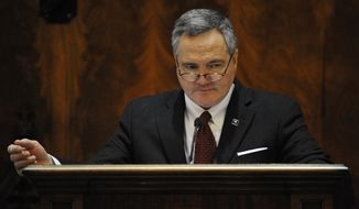 South Carolina House Speaker Bobby Harrell, R-Charleston, addresses the House chamber during the first day of the South Carolina Legislature on Tuesday, Jan. 14, 2014, in Columbia, S.C. (AP Photo/Rainier Ehrhardt)