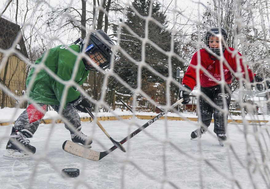 In this Jan. 7, 2014 photo, 4-year old Trey Ingles, left, and his brother Ian, 7, battle for the puck on their backyard ice rink in Washington, Ill. (AP Photo/Journal Star, Ron Johnson)