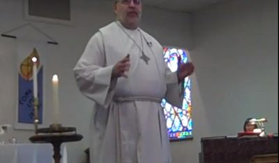 Pastor Tim Christensen of Gold Hill Lutheran Church seen here in viral video of his brief sermon ahead of 49ers playoff game against the Panthers.
