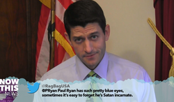 "Rep. Paul Ryan reads a negative tweet about himself aloud in a video titled ""Mean Tweets DC"" by NowThis News. (NowThis News)"