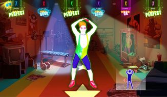 """This photo provided by Ubisoft shows a scene from the video game, """"Just Dance 2014"""". The fifth installment in Ubisoft's hyper-colored choreography franchise is more of a dance game than an actual fitness title, though """"Just Dance 2014"""" features the return of the series' """"just sweat"""" mode, which counts calories as players shake their groove thangs. (AP Photo/Ubisoft)"""