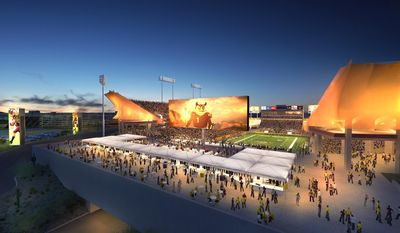 This undated image provided by Arizona State University shows an artist rendering of Sun Devil Stadium in Tempe, Ariz. Arizona State University has a new plan to renovate its football stadium. Work planned for Sun Devil Stadium includes adding a terrace pavilion, a double-sided video board, a new student section and escalators, but a proposed a shade canopy has been dropped. The work is to begin in the spring of 2015 and be finished by mid-2017. (AP Photo/Arizona State University)
