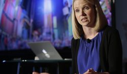 FILE - In this  Monday, May 20, 2013, file photo, Yahoo CEO Marissa Mayer speaks during a news conference in New York. Yahoo on Wednesday, Jan. 15, 2014 announced that Mayer is cutting loose her top lieutenant, a possible sign that the Internet company's efforts to revive its long-slumping advertising sales aren't paying off. (AP Photo/Frank Franklin II, File)