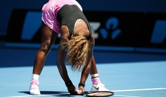 Serena Williams of the United States reacts after losing a point to Vesna Dolonc of Serbia during their second round match at the Australian Open tennis championship in Melbourne, Australia, Wednesday, Jan. 15, 2014.(AP Photo/Aaron Favila)