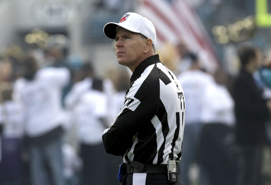 Referee Terry McAulay during an NFL football game between the Houston Texans and Jacksonville Jaguars, Sunday, Dec. 6, 2009, in Jacksonville, Fla.(AP Photo/Phil Coale)