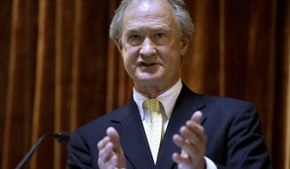 Rhode Island Gov. Lincoln Chafee delivers his State of the State address in the House chambers of the Statehouse, Wednesday, Jan. 15, 2014 in Providence. The annual speech traditionally sets out a governor's priorities for the year. It is Chafee's fourth and final such address. (AP Photo/Steven Senne)