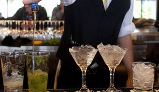 ** FILE ** In this Monday, Nov. 19, 2012, file photo, a bartender prepares alcoholic drinks at a restaurant in San Francisco. (AP Photo/Eric Risberg)