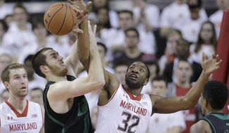 Maryland guard/forward Dez Wells (32) and Notre Dame center Garrick Sherman struggle for a rebound in the first half of an NCAA college basketball game in College Park, Md., Wednesday, Jan. 15, 2014. (AP Photo/Patrick Semansky)