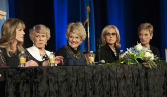 In this Jan. 11, 2014 photo, former Nevada First Ladies Dawn Gibbons, from left, Kathryn List, Sandy Miller, Dema Guinn and Bonnie Bryan participate in a panel at the Augustus Ballroom inside Caesars Palace casino-hotel in Las Vegas. The two-hour event was part of Nevada's yearlong 150th anniversary celebration ahead of Nevada's Oct. 31 birthday. (AP Photo/Las Vegas Review-Journal, Erik Verduzco)