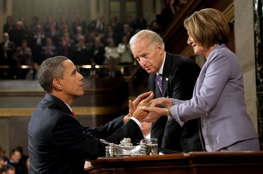 President Barack Obama shakes hands with Vice President Joe Biden and Speaker of the House Nancy Pelosi at the conclusion of his State of the Union address, Jan. 27, 2010. (Official White House Photo by Pete Souza)