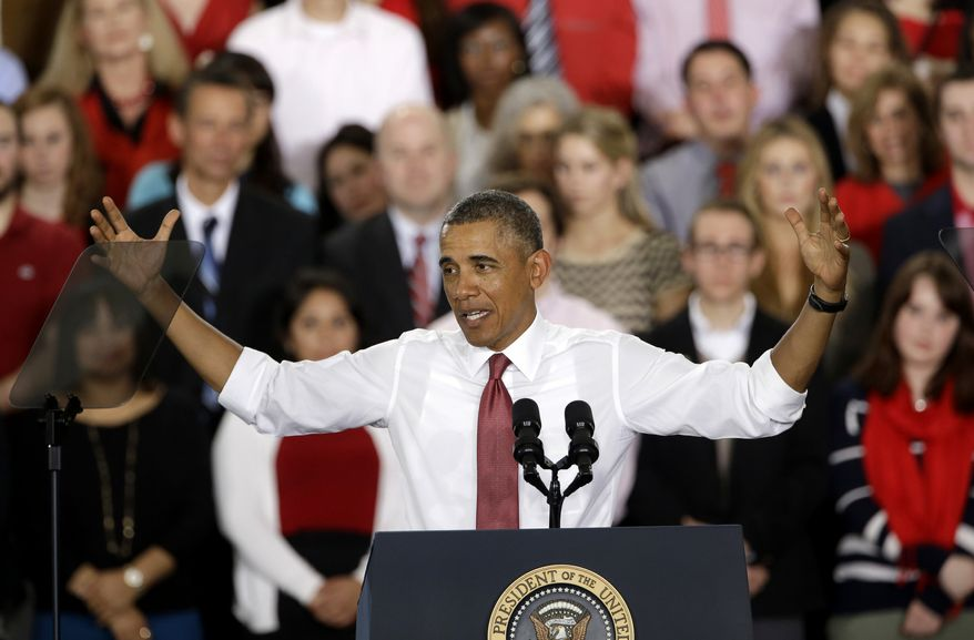 President Barack Obama gestures as he speaks about the economy, jobs, and manufacturing, Wednesday, Jan. 15, 2014, at North Carolina State Universit in Raleigh, N.C.  (AP Photo/Gerry Broome)