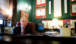 Sen. Jeff Sessions (R-Ala.) speaks to an member of his staff in his office on Capitol Hill, Washington, D.C., Wednesday, January 15, 2014. (Andrew Harnik/The Washington Times)