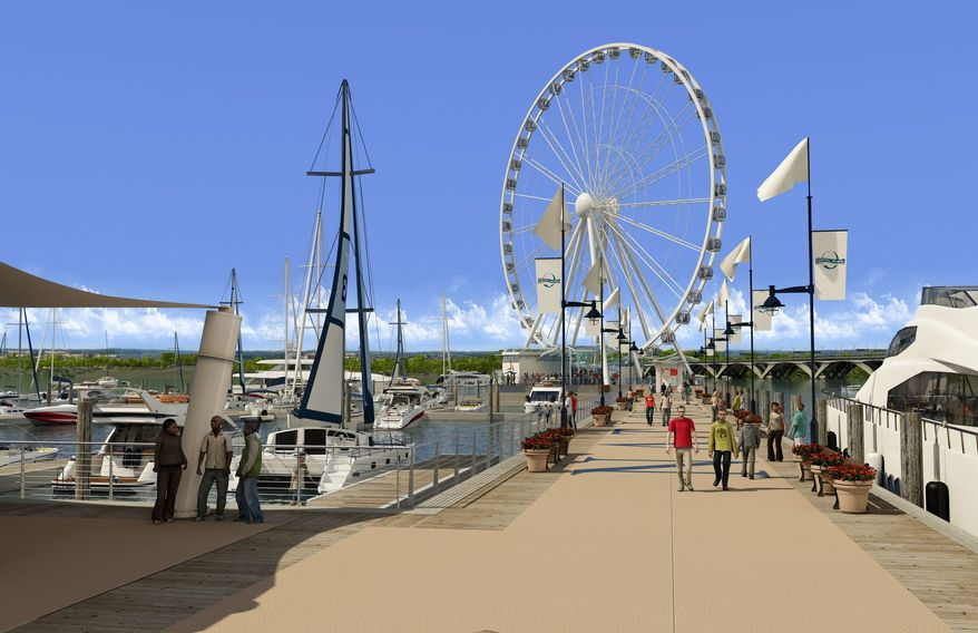 The Capital Wheel at National Harbor will soar 175 feet above the Potomac with views of the District, Maryland and Virginia. It is expected to be completed by May. (associated press)