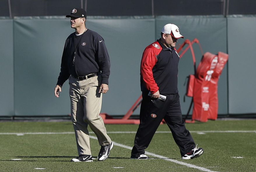 San Francisco 49ers coach Jim Harbaugh, left, and offensive coordinator Greg Roman walk on the field during NFL football practice in Santa Clara, Calif., Wednesday, Jan. 15, 2014. The 49ers are scheduled to play the Seattle Seahawks for the NFC championship on Sunday. (AP Photo/Jeff Chiu)