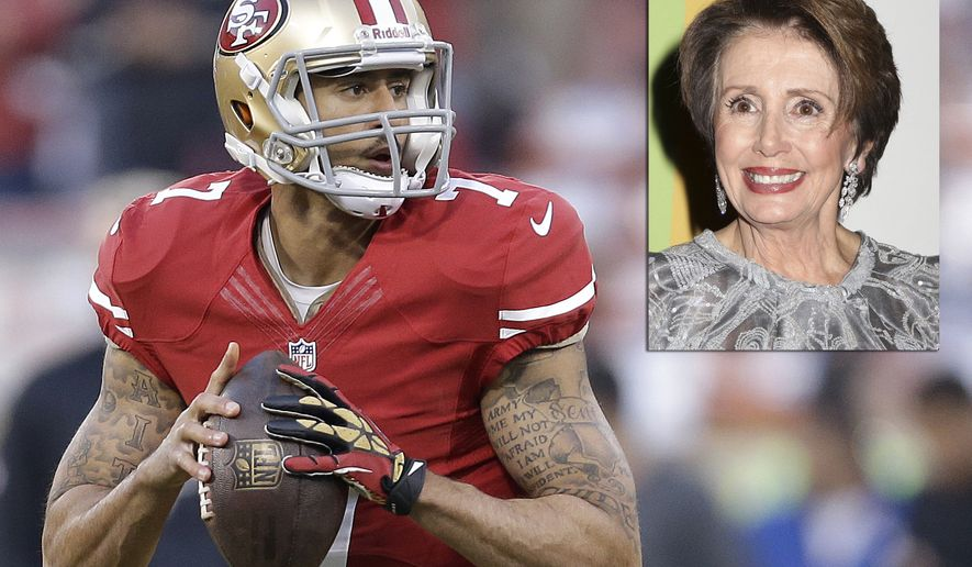 PHOTO ILLUSTRATION  House Minority Leader Nancy Pelosi. San Francisco 49ers quarterback Colin Kaepernick (7) warms up before an NFL football game against the Atlanta Falcons in San Francisco, Monday, Dec. 23, 2013. (AP Photo/Marcio Jose Sanchez)