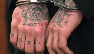 Former New England Patriots NFL football player Aaron Hernandez's tattooed hands are secured with handcuffs as he arrives for his court appearance at the Fall River Superior Court in Fall River, Mass., Monday, Dec. 23, 2013. A Massachusetts judge may impose a formal gag order in the murder case against Hernandez, after his attorneys accused the state of allowing leaks that jeopardize his right to a fair trial. (AP Photo/Boston Herald, Matt Stone, Pool)