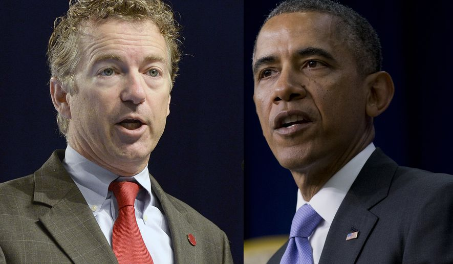 PHOTO ILLUSTRATION Sen. Rand Paul, R-KY.  President Barack Obama gestures as he speaks during an Expanding College Opportunity event, Thursday, Jan. 16, 2014, in the South Court Auditorium in the Eisenhower Executive Office Building on the White House complex in Washington. (AP Photo/Carolyn Kaster)