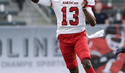 American team quarterback Kenny Guiton, of Ohio State, throws a pass during the first half of the NFLPA Collegiate Bowl NCAA college football game against the National team on Saturday, Jan. 18, 2014, in Carson, Calif. (AP Photo/Jae C. Hong)