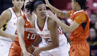 Maryland forward Alyssa Thomas, center, tries to protect the ball as she is double-teamed by Syracuse guards Isabella Slim (10) and Rachel Coffey, right, in the first half of an NCAA college basketball game in College Park, Md., Thursday, Jan. 16, 2014. (AP Photo/Patrick Semansky)