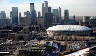 FILE - In this Jan. 30, 2012, file photo, Mall of America Field at the Hubert H. Humphrey Metrodome is seen in downtown Minneapolis. The Minneapolis skyline could begin to change this weekend. Power inside the Minnesota Vikings' Metrodome is scheduled to be cut Saturday and the giant white top that's been part of the skyline for more than 32 years will begin deflating. (AP Photo/Star-Tribune, Richard Sennott) MAGS OUT; LOCAL TV OUT; ST. PAUL PIONEER PRESS OUT