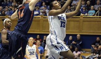 Duke's Richa Jackson, right, drives to the basket ahead of Virginia's Lexie Gerson during the first half of an NCAA women's college basketball game, Thursday, Jan. 16, 2014, in Durham, N.C. (AP Photo/Ted Richardson)