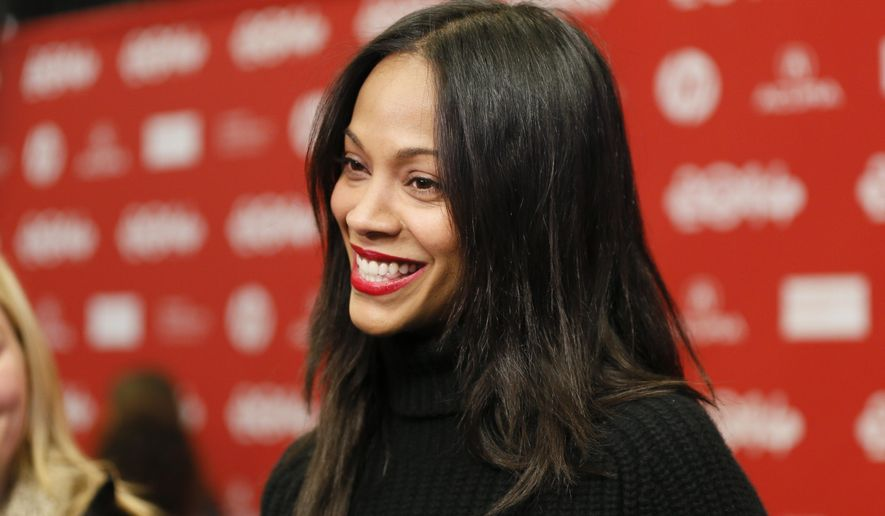 """Cast member Zoe Saldana is interviewed at the premiere of the film """"Infinitely Polar Bear"""" during the 2014 Sundance Film Festival, on Saturday, Jan. 18, 2014 in Park City, Utah. (Photo by Danny Moloshok/Invision/AP)"""