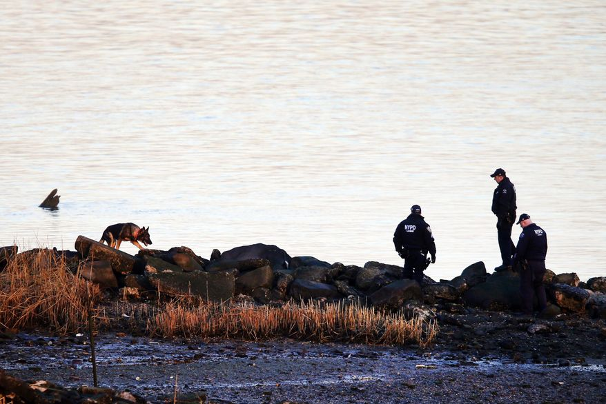 A New York Police Department canine unit continues the search for human remains after an arm and legs were discovered along a rocky shoreline in the Queens borough of New York, Friday, Jan. 17, 2014. Police were investigating whether human remains found along the shore of New York City's East River could be those of an autistic teen who walked out of his school and vanished more than three months ago, a law enforcement official said Friday. Fourteen-year-old Avonte Oquendo has been missing since Oct. 4, the day he walked out of his school. Authorities are not clear whether the remains found Thursday belong to the missing teen. They were discovered at least 11 miles driving distance from his school. (AP Photo/Jason DeCrow)