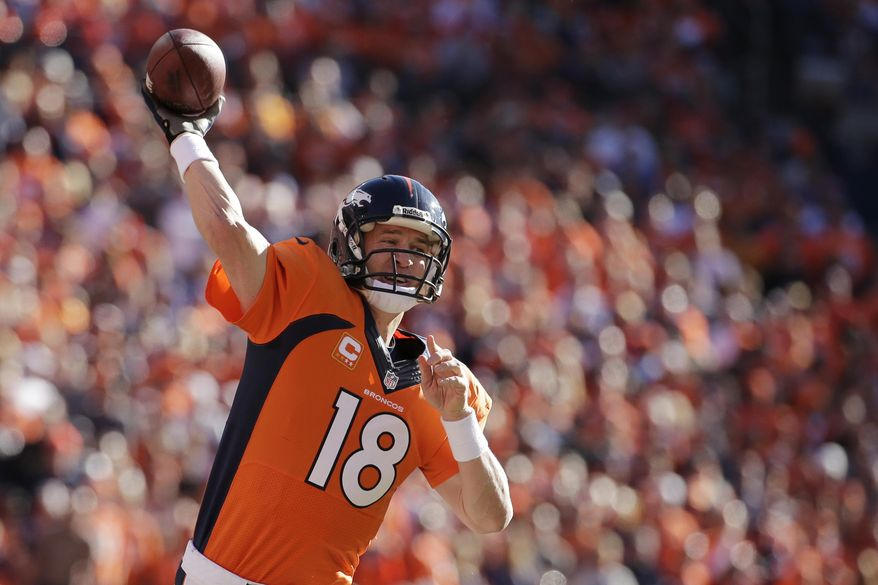 Denver Broncos quarterback Peyton Manning (18)passes the ball during the first half of the AFC Championship NFL playoff football game against the New England Patriots in Denver, Sunday, Jan. 19, 2014. (AP Photo/Charlie Riedel)