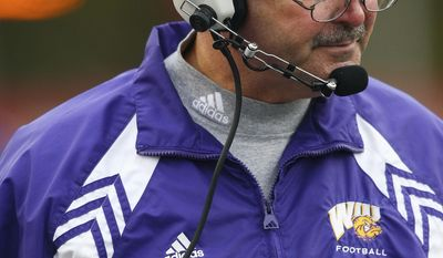 ADVANCE FOR WEEKEND EDITIONS, JAN. 18-19 - FILE - This Nov. 10, 2007 file photo provided by Western Illinois University show head football coach Don Patterson, in Macomb, Ill. UConn coach Bob Diaco's new associate head coach is a cancer survivor who gave Diaco his first full-time coaching job. But the 40-year-old Diaco says he didn't bring in 63-year-old Patterson to be his mentor. He says the two share the same coaching DNA, and he believes the entire program will benefit from Patterson's experiences. (AP Photo/Western Illinois University, Jamie Mullen, File)  NO SALES