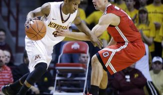 Ohio State's Aaron Craft, right, tries to slow up Minnesota's Deandre Mathieu as he drives in the first half of an NCAA college basketball game, Thursday, Jan. 16, 2014, in Minneapolis. (AP Photo/Jim Mone)