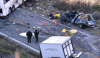 FILE - In this Feb. 4, 2013 photo, investigators work the scene where a tour bus collided with a pickup truck on Highway 38 north of Yucaipa, Calif., killing eight people. Federal regulators ordered the tour bus operator, National City, Calif.-based Scapadas Magicas LLC,  to immediately stop operating because its buses weren't properly maintained or inspected and its drivers weren't properly vetted for qualifications. Intercity bus and truck companies with a continuing history of safety problems will be easier to shut down under new regulations the Federal Motor Carrier Administration said Friday that it plans to issue. The regulations give the agency authority to put out of business operators who have been cited for repeated problems, even if their most recent inspection alone doesn't quite meet the threshold for closure, the agency said. (AP Photo/The Sun, Rick Sforza, File)