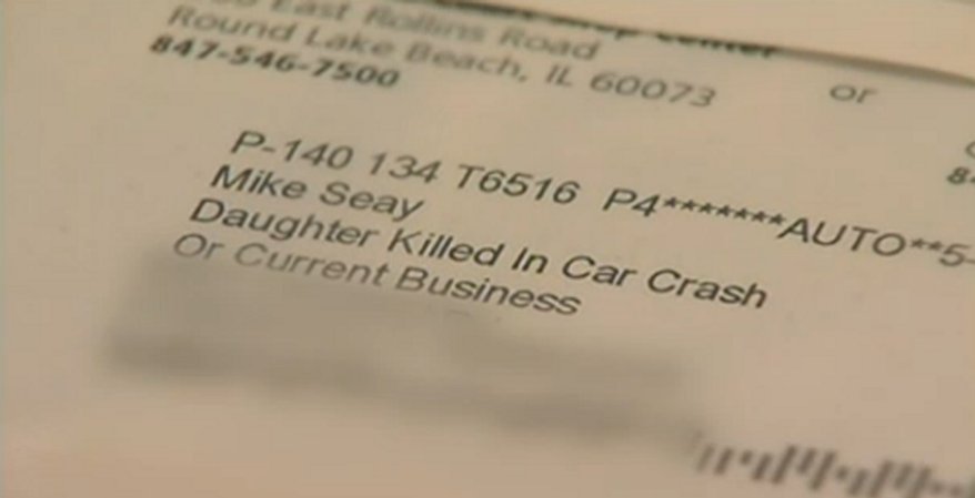 """Mike Seay claims he received a letter from OfficeMax on Thursday addressed to """"Mike Seay, Daughter Killed in Car Crash, or Current Business.""""(NBC 5 Chicago)"""