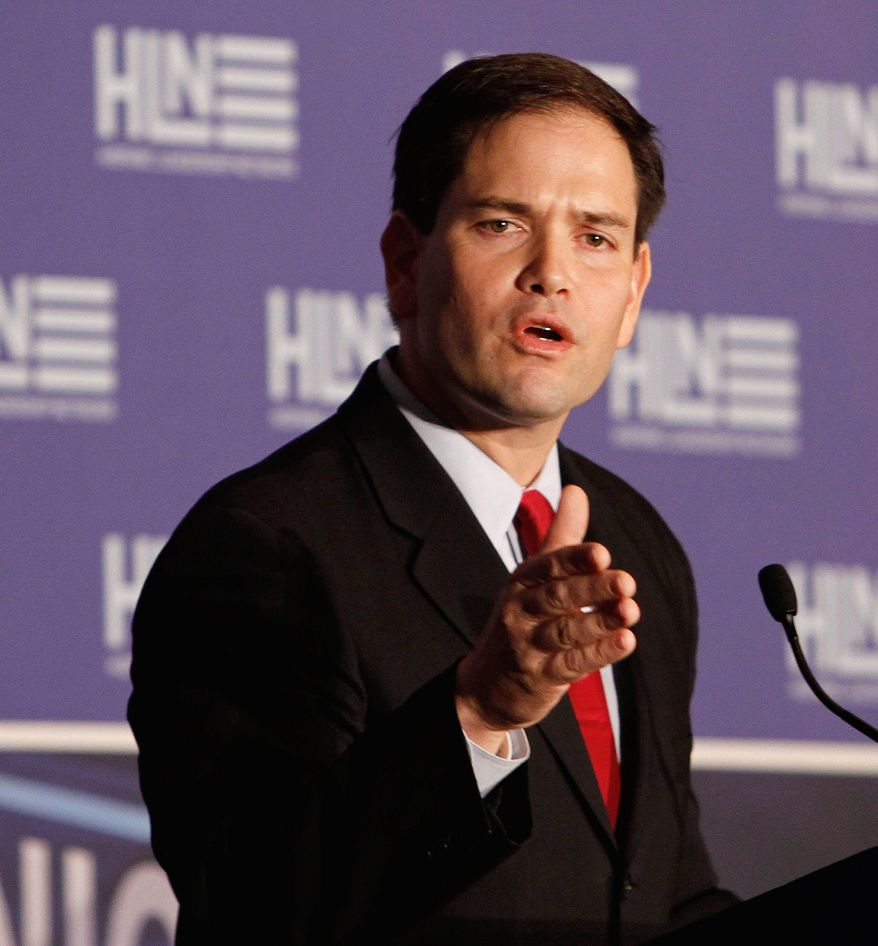 Sen. Marco Rubio, Florida Republican, left Saturday for a weeklong tour of Japan, the Philippines and South Korea. (Associated Press)