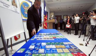 McAllen Police Chief Victor Rodriguez displays dozens of fraudulent credit cards that were confiscated by McAllen police after arresting a man and a woman on fraud charges tied to the December Target credit card breach, Monday Jan. 20, 2014 at the McAllen Police Department in McAllen, Texas. Rodriguez said Mary Carmen Garcia, 27, and Daniel Guardiola Dominguez, 28, both of Monterrey, Mexico, were arrested Sunday, Jan. 19, 2014 after arriving at the border with 96 fraudulent credit cards. (AP Photo/The Monitor, Gabe Hernandez)  MAGS OUT; TV OUT