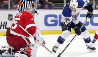 Detroit Red Wings goalie Jimmy Howard (35) stops a St. Louis Blues wing T.J. Oshie (74) shot in the first period of an NHL hockey game, Monday, Jan. 20, 2014, in Detroit. (AP Photo/Paul Sancya)