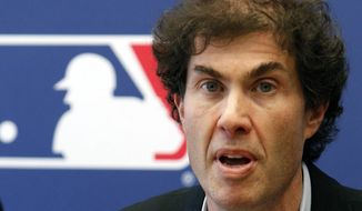 FILE - This April 21, 2011 file photo shows baseball players union head Michael Weiner speaking at a news conference in New York. Weiner, the plain-speaking, ever-positive labor lawyer who took over as head of the powerful baseball players' union four years ago and smoothed the group's perennially contentious relationship with management, died Thursday, Nov. 21, 2013, 15 months after announcing he had been diagnosed with an inoperable brain tumor. He was 51. A memorial for Weiner was held Monday, Jan. 20, 2014. (AP Photo/Frank Franklin II, File)