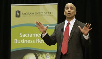 Neel Kashkari, a former U.S. Treasury official, announced that he would run for governor of California while giving the keynote speech at the Sacramento Business Review at California State University, Sacramento, Tuesday, Jan. 21, 2014, in Sacramento, Calif. Kashkari, a political newcomer and Republican, faces long odds against incumbent Gov. Jerry Brown. (AP Photo/Rich Pedroncelli)