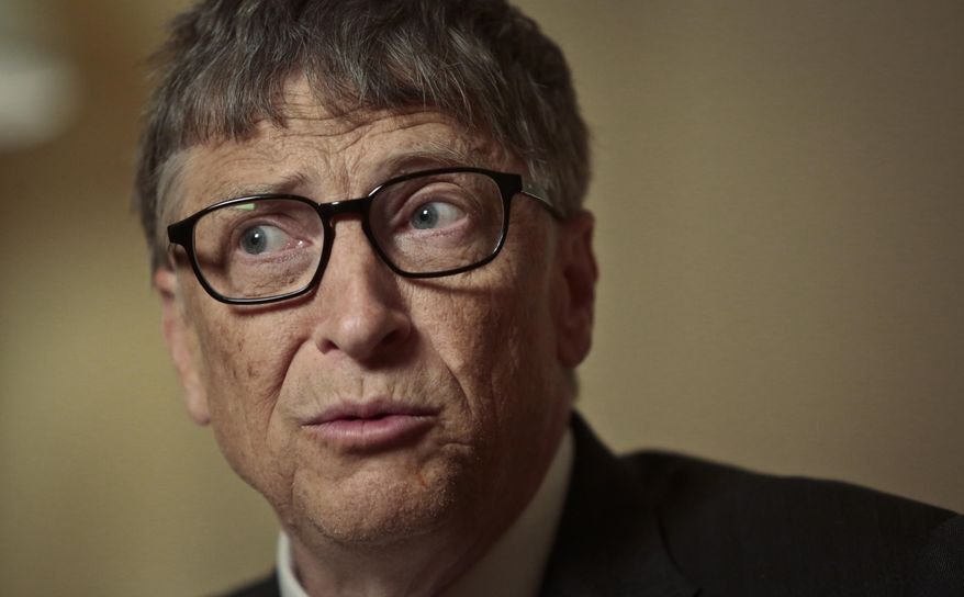 Philanthropists Bill Gates speaks during an interview on Tuesday, Jan. 21, 2014, in New York. Gates pitched an optimistic future for the world's poor and sick his annual letter, arguing passionately against three myths he said hurt efforts to bring people out of poverty, save lives and improve living conditions. (AP Photo/Bebeto Matthews)