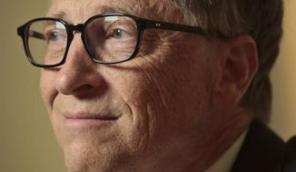 Philanthropists Bill Gates listens during an interview on Tuesday, Jan. 21, 2014, in New York.  Gates pitched an optimistic future for the world's poor and sick his annual letter, arguing passionately against three myths he said hurt efforts to bring people out of poverty, save lives and improve living conditions. (AP Photo/Bebeto Matthews)