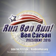 Virginia-based National Draft Ben Carson for President Committee billboards in Des Moines, Iowa, and Baltimore urge the retired pediatric neurosurgeon to make a bid for the White House in 2016.