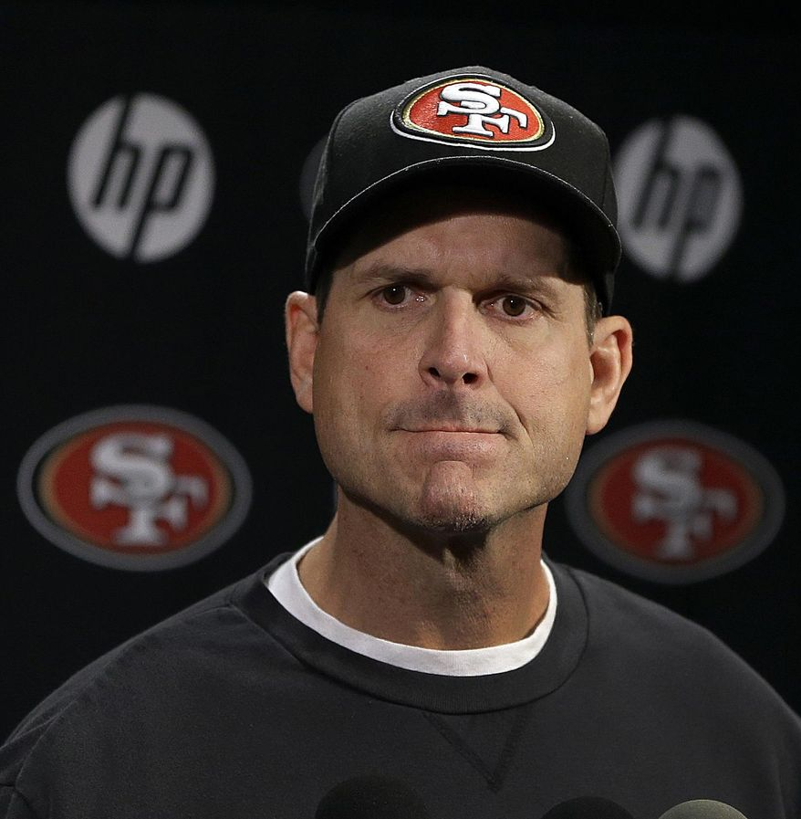 San Francisco 49ers coach Jim Harbaugh listens to questions during an NFL football media conference, Tuesday, Jan. 21, 2014, in Santa Clara, Calif. (AP Photo/Ben Margot)