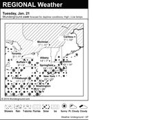 This is the Weather Underground forecast for Tuesday, Jan. 21, 2014 for the eastern region of the U.S. (AP Photo/Weather Underground)
