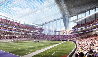 FILE - This artists rendering released on May 13, 2013, by the Minnesota Sports Facilities Authority and the Minnesota Vikings is the new Minnesota Vikings stadium. Minnesota's Supreme Court on Tuesday, Jan. 21, 2014, dismissed a lawsuit challenging the funding plan for a new Vikings football stadium, eliminating a legal obstacle that threatened a last-minute derailment of the project. The lawsuit was filed Jan. 10 by Doug Mann, an activist and former Minneapolis mayoral candidate who argued the stadium funding plan was unconstitutional. The state's highest court disagreed. (AP Photo/HKS Sports and Entertainment Group, File)