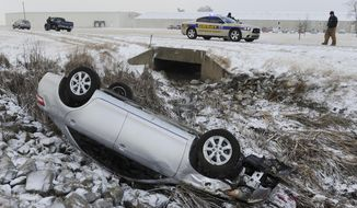 Henderson County Sheriff's deputies cover the scene after a car slid off state road 136 west and overturned into a drainage ditch, Tuesday morning, Jan. 21, 2014, in Henderson, Ky. Snow and wind brought hazardous winter conditions to a large swath of Kentucky on Tuesday, creating a slow, messy morning commute and previewing a drop in temperatures to the single digits and teens as the week wears on.(AP Photo/The Gleaner, Mike Lawrence)