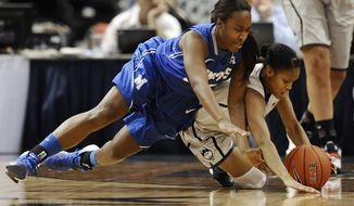Connecticut's Moriah Jefferson, right, steals the ball from Memphis' Devin Mack, left, during the first half of an NCAA college basketball game, Wednesday, Jan. 22, 2014, in Hartford, Conn. (AP Photo/Jessica Hill)