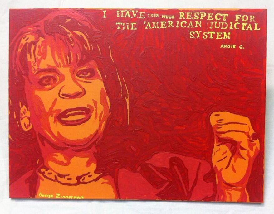 """This undated photo provided by Robert Zimmerman Jr. shows a painting by his brother, George Zimmerman, portraying northeast Florida state attorney Angela Corey, the special prosecutor who charged him with second-degree murder in the 2012 shooting death of 17-year-old Trayvon Martin. Robert Zimmerman Jr. posted his brother's new painting, titled """"Angie"""", Wednesday, Jan. 22, 2014, on Twitter. He said details about its sale would follow Thursday. (AP Photo/Courtesy Robert Zimmerman Jr.)"""