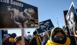 Anti-abortion demonstrators rally at the annual March for Life on the National Mall, Washington, D.C., Wednesday, January 22, 2014. (Andrew Harnik/The Washington Times)