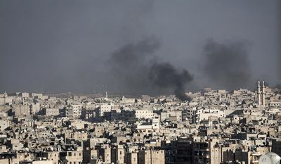 In this Wednesday, Nov. 14, 2012 photo, smoke rises after a Syrian mortar shell landed in a neighborhood in Aleppo, Syria.(AP Photo/Narciso Contreras).